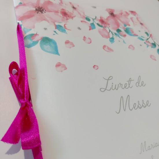Livret de messe fleurs roses