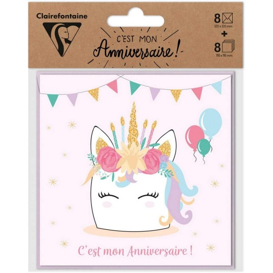 Set de 8 Invitations Licorne